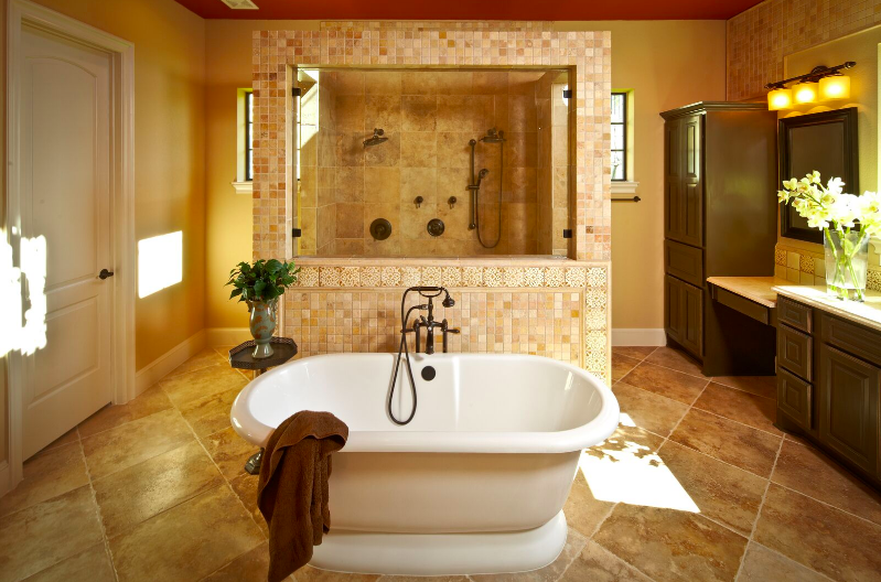 Inspiring custom bath with large walk-through shower and soaker tub ...