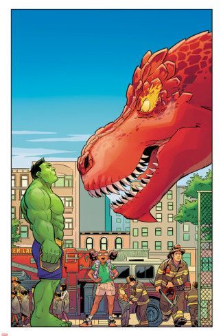 #Hulk #Fan #Art. (MOON GIRL AND DEVIL DINOSAUR NO. 4 COVER FEATURING DEVIL DINOSAUR, TOTALLY AWESOME HULK, MOON GIRL) By: June Brigman. ÅWESOMENESS!!!™ ÅÅÅ+