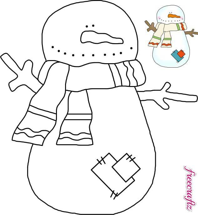 Snowman Template With A Scarf And Patches  Jigsaw Patterns