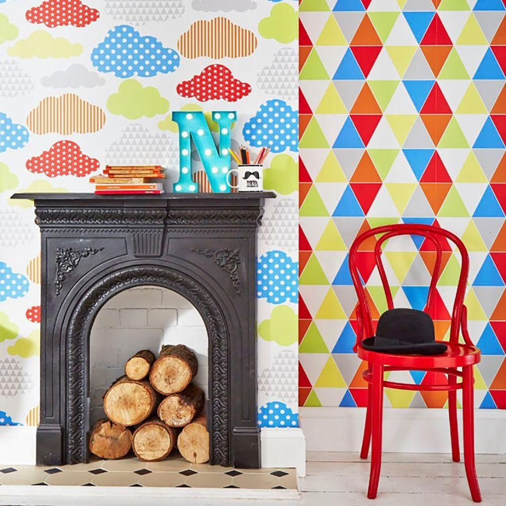 56 sq. ft. Muiitcolor Brights Marshmallow Clouds Wallpaper, Mulitcolor Brights