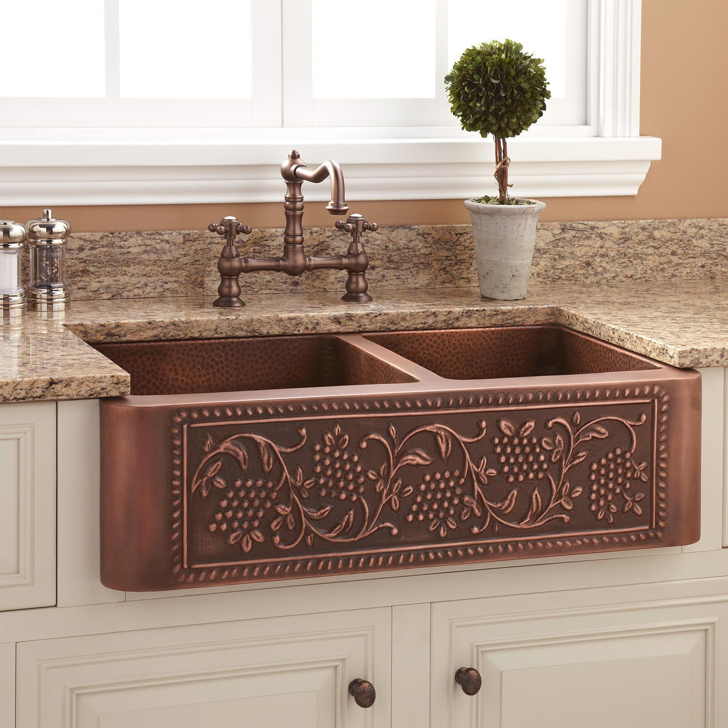 Copper Farmhouse Workstation Sink With Muted Earth Tone Patina