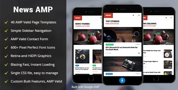 AMP News Mobile | Mobile Google AMP Template | Google AMP | Mobile ...