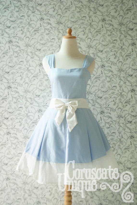 Blaue ALICE IN WONDERLAND Kleid weiße Band plissiert herzförmiger ...
