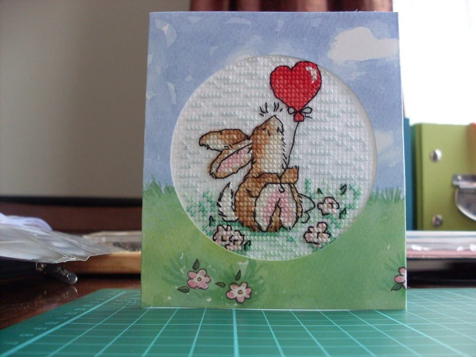 cross stitched bunny birthday card that i have completed
