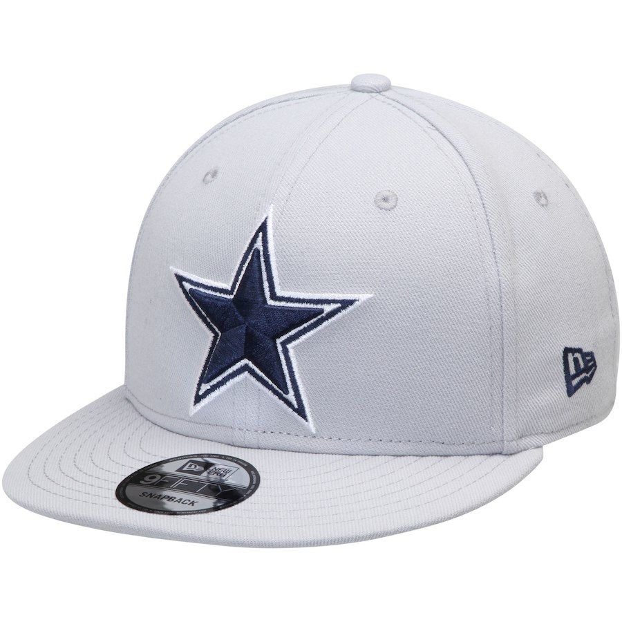 5b3f6229282a55 Men's Dallas Cowboys New Era Silver Basic 9FIFTY Adjustable Hat, Your Price:  $29.99