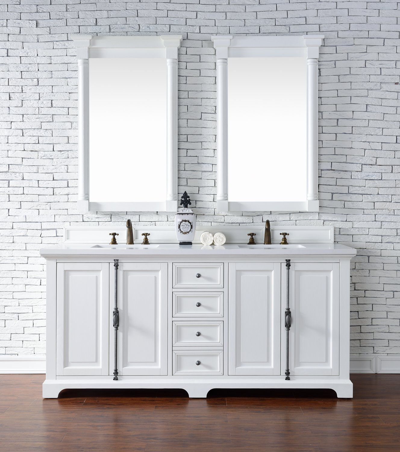 72 Providence Cottage White Double Sink Bathroom Vanity James
