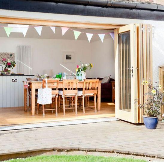 Modernized Bungalow Kitchen Renovation: Modern Country Cottage Kitchen With Bi-fold Doors (image
