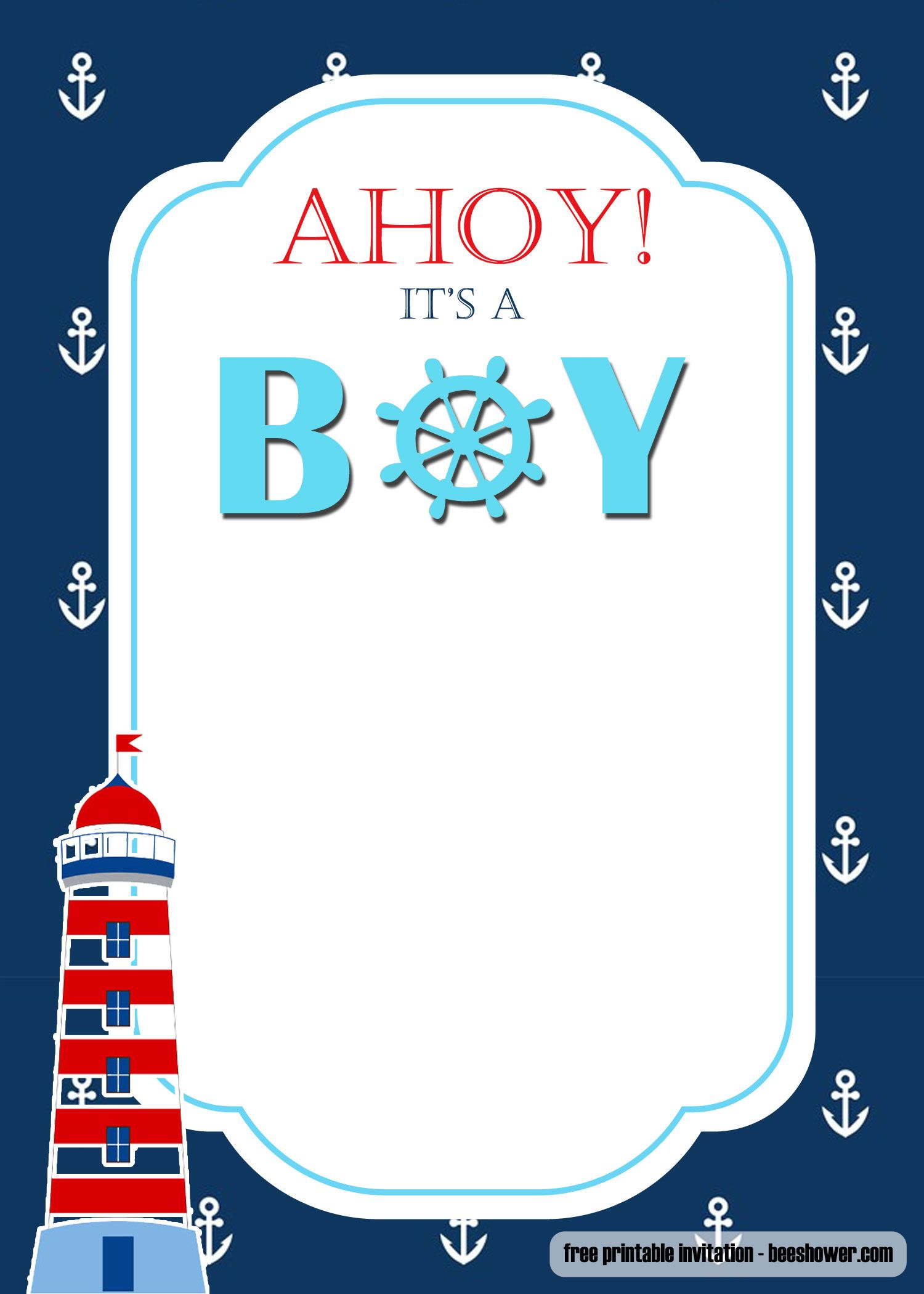 Free Nautical Themed Baby Shower Invitations Templates Fre Baby Shower Nautical Theme Nautical Baby Shower Invitations Free Printable Baby Shower Invitations