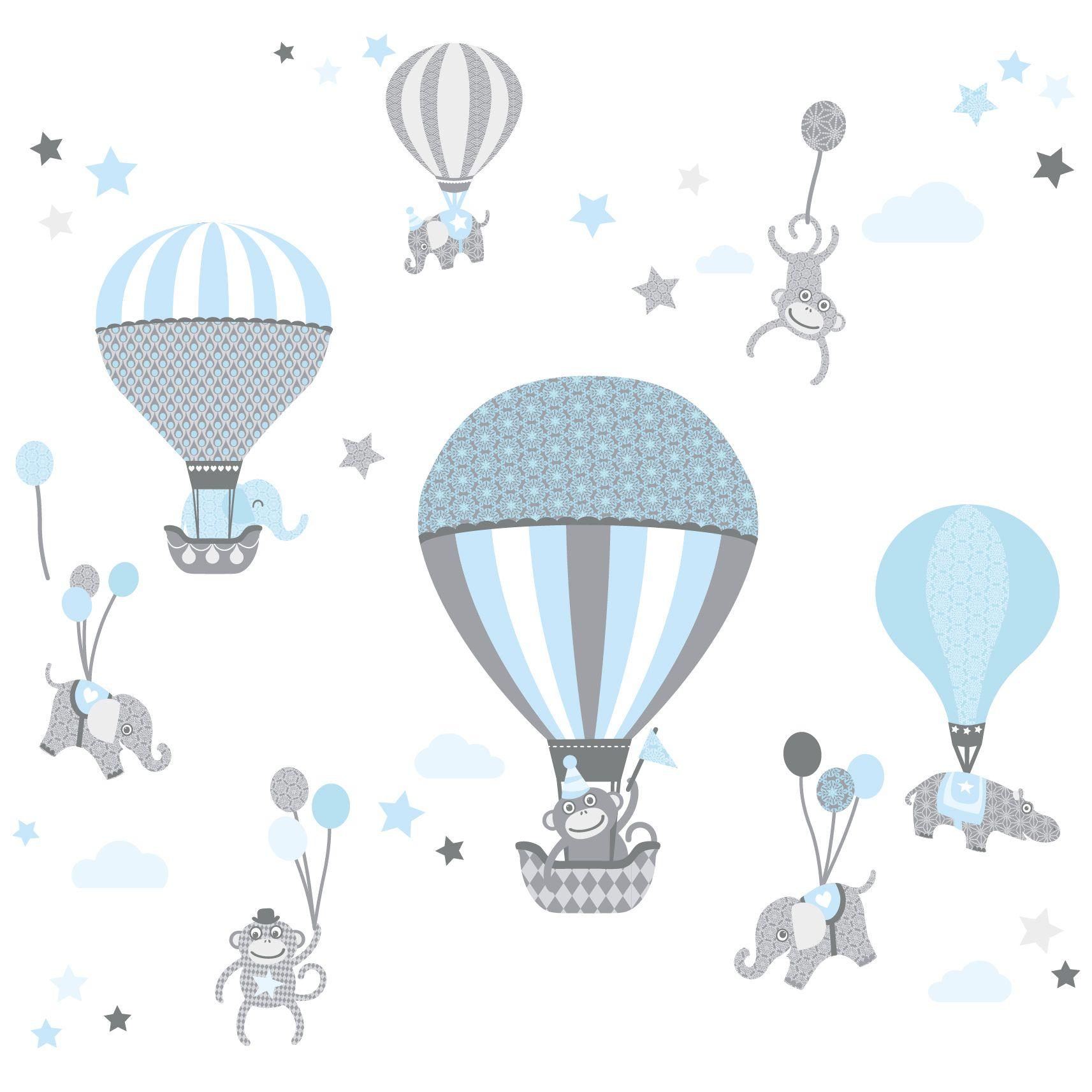 Farben Wandtattoo Schlafzimmer Madchen Junge Wanddeko Baby Kinder Wandaufkleber Kinderzimmer Babyzimmer Mit Tieren In Versch Lovely Label Wandsticker Selbstklebend Heissluftballons Grau Blau
