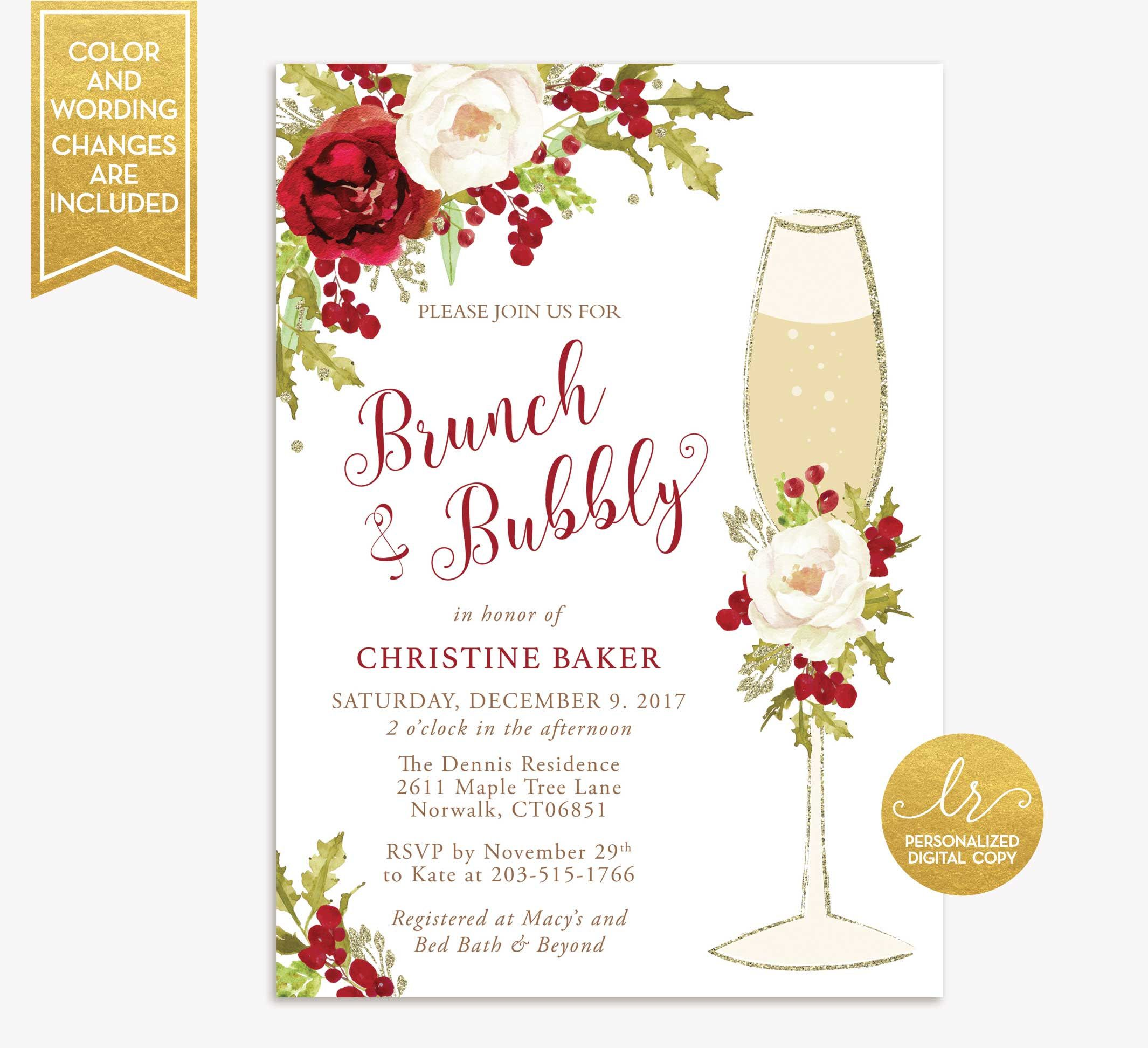 419182afe718 Winter Brunch and Bubbly Bridal Shower Invitation - Holiday Christmas  Brunch Invite - Floral Wedding Shower