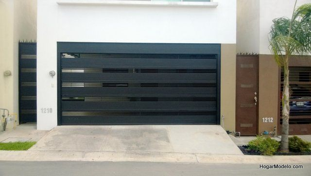 Puerta de garage con rejas horizontales gruesas para mayor - Puertas de cochera ...