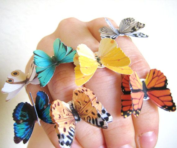 cat hutchings, paper jewelry 3D butterfly wing ring colorful bright colors