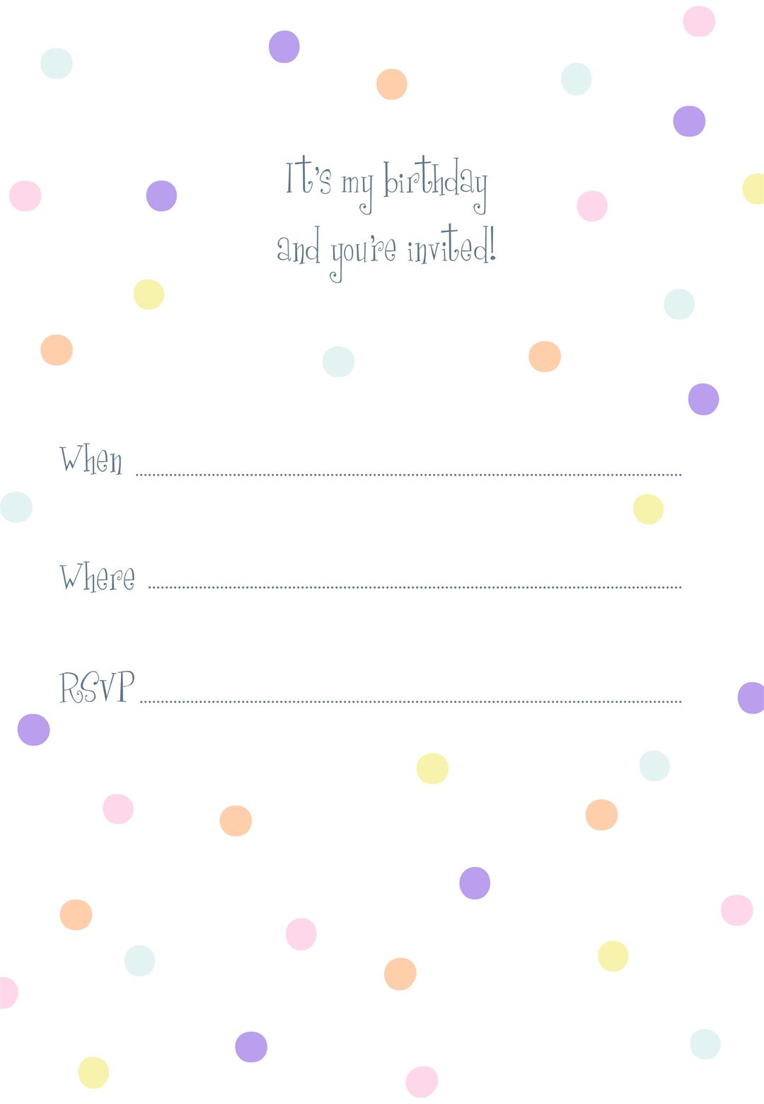 Birthday #Invitation #Printable Free at http://www.greetingsisland ...