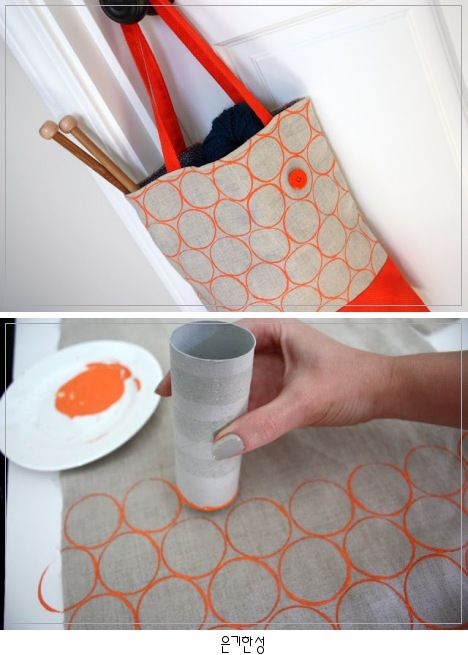 DIY: Fabric Stamping / 휴지롤을 이용한 원 패턴 만들기 #fabricstamping