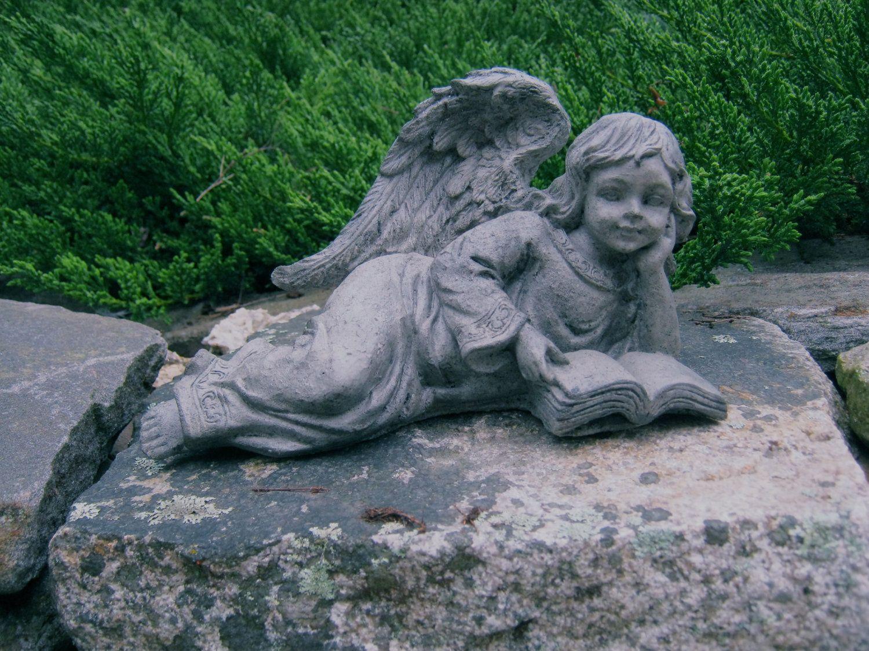 Angel Girl Reading Concrete Angel Garden Statue Cement 400 x 300