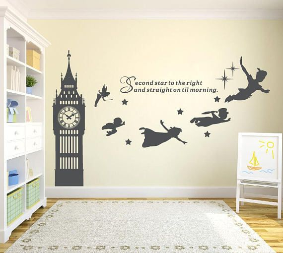 Big Ben Clock Wall Decal, Peter Pan Wall Decal Quote-Second Star To ...
