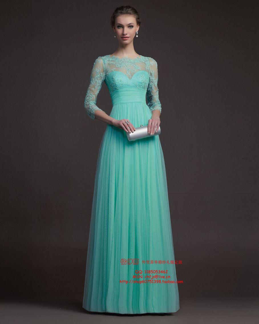 Sea green net prom dress