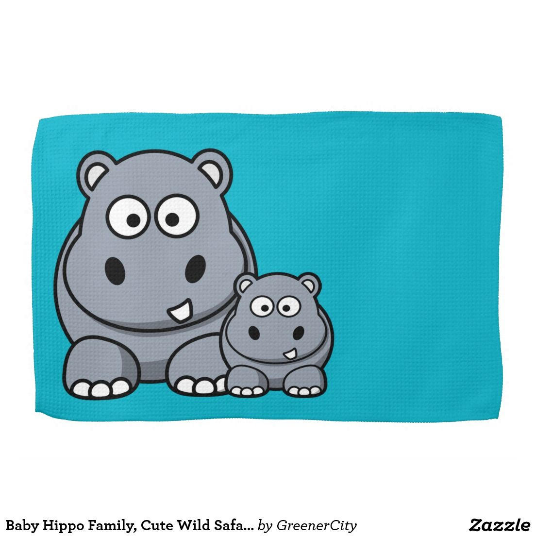 Baby Hippo Family, Cute Wild Safari Kitchen Towel | Top sellers on ...