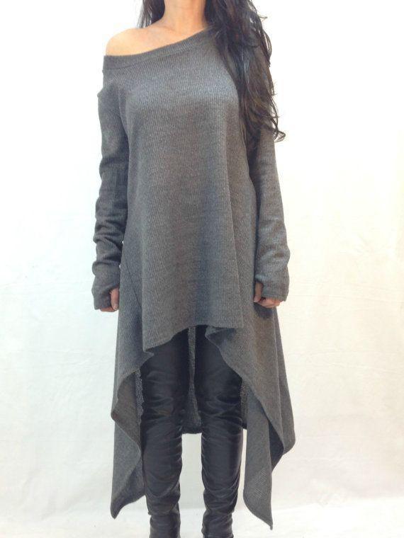 da1f9b67ce0 Grey Marl Boatneck Amazing Pop Popular Glamor One-Shoulder Asymmetrical Unusual  Casual Dress 14.08