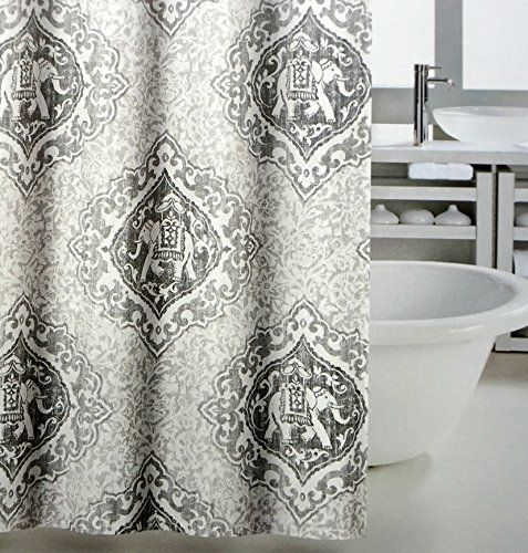Tahari Luxury Mandala Elephant Oriental Boho Style Fabric Shower Curtain Taupe White Gray Antique Medallion 72