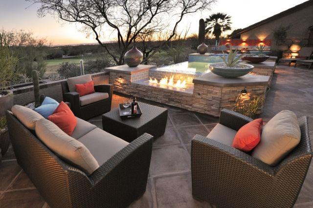 Rattan Outdoor Möbel-Sitzgruppe ideen feuerstelle im freien