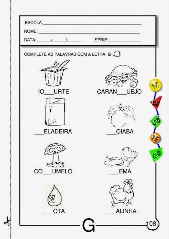 Famosos Atividades letra g para Educação Infantil | portugues | Pinterest  OF44