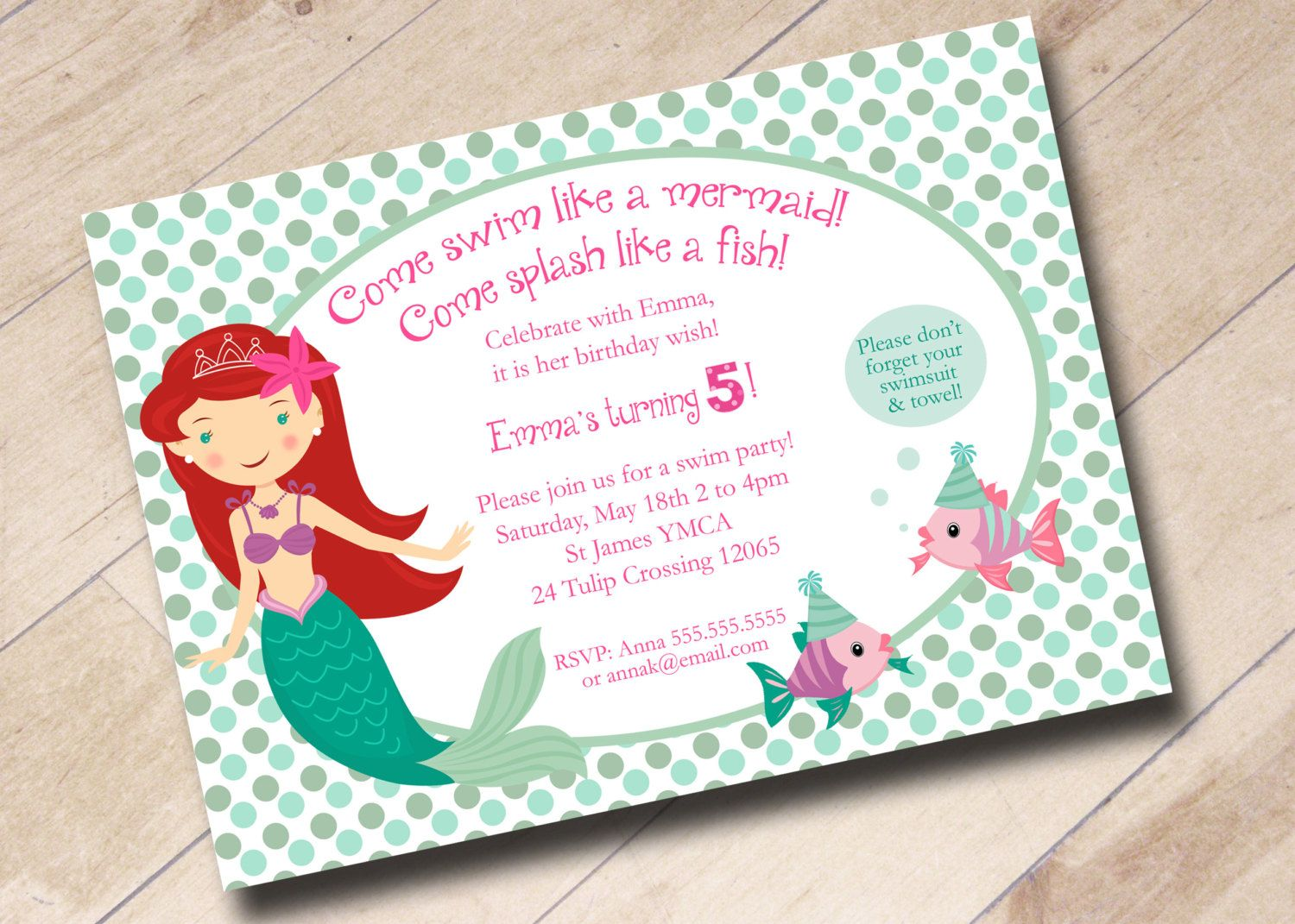 Little Mermaid Swim Party Birthday Invitation By AreUin On Etsy 1500