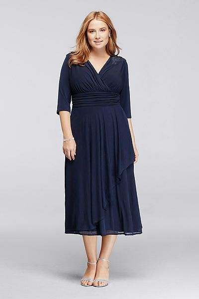 d348d44669ef0 3 4 Sleeve Tea-Length Dress with Beaded Shoulders JWJU1AIQ