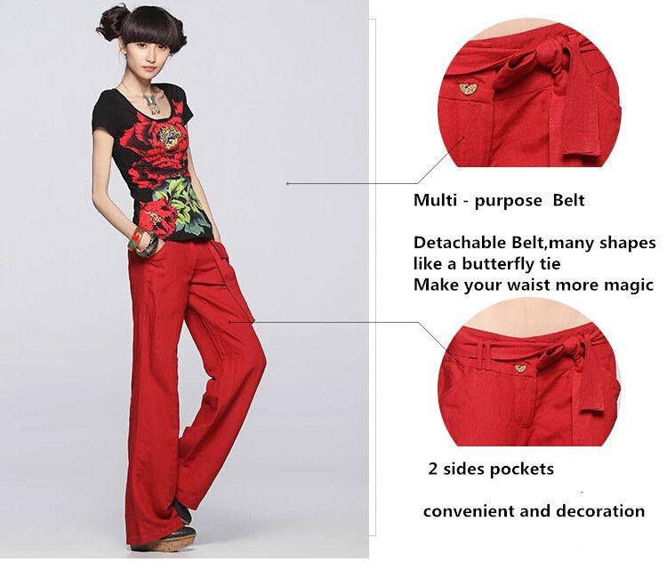 25502e1131f75 2018 FREE PANTS Better Linen pants loose solid color wide leg pants  straight casual women pants