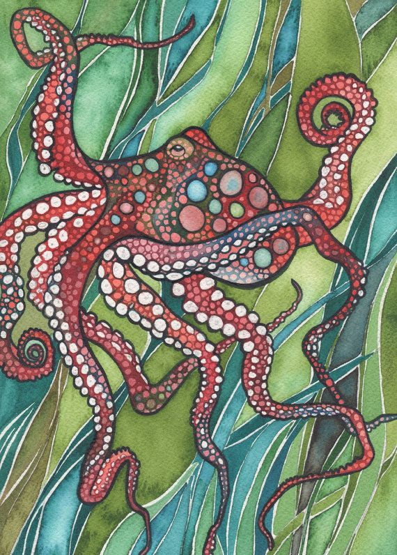 Red Octopus Print Of Stunning Octopus In A Sea Of Grass Green Kelp Olive Turquoise Crimson Rust Jellyfish Arms Ocean Sea Marine Biology Octopus Painting Art Red Octopus