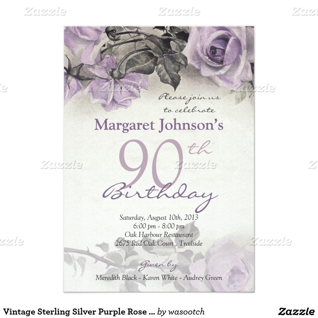 Invitación Cumpleaños Color De Rosa Púrpura De La Plata