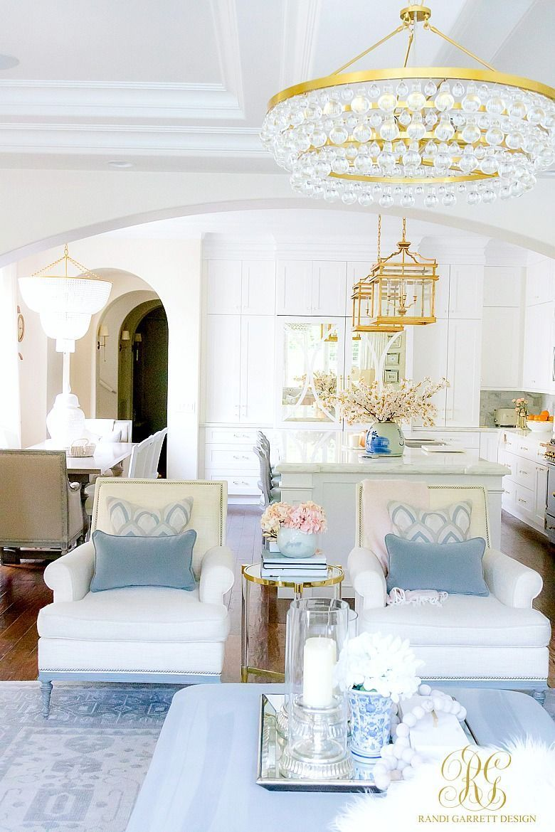 Spring home tour calming neutral white and blue family room