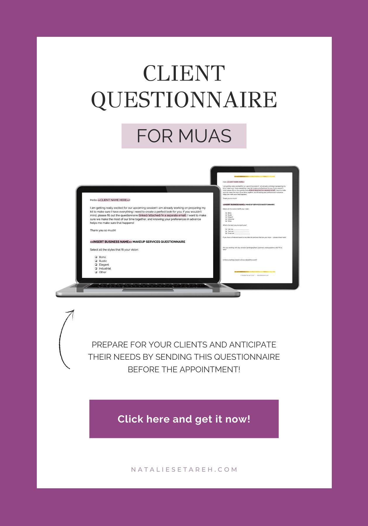 Client Questionnaire Freelance Makeup Artist Templates Freelance Makeup Artist Client Questionnaire Makeup Artist Business