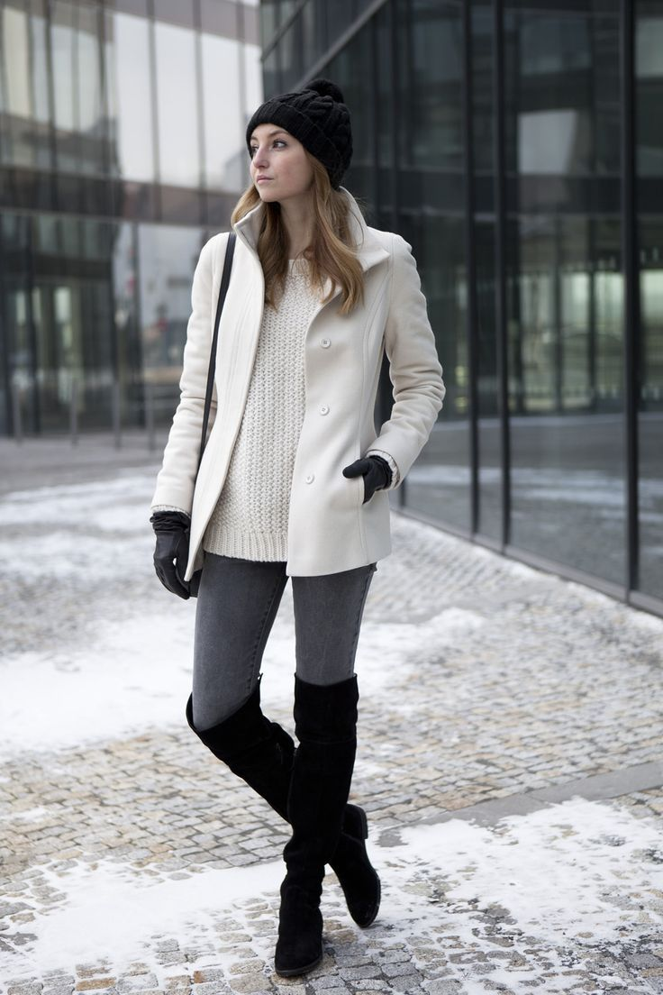 Women's White Coat, White Knit Oversized Sweater, Charcoal Skinny ...