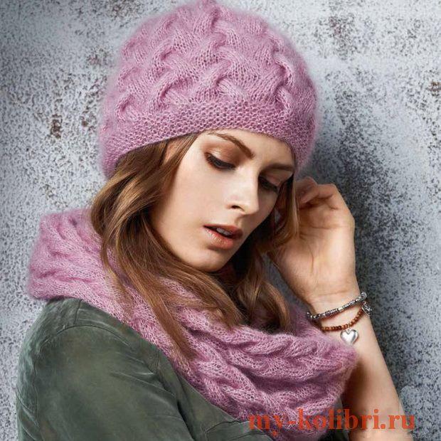 вяжем шапку спицами из мохера плетеным узором схема и описание на