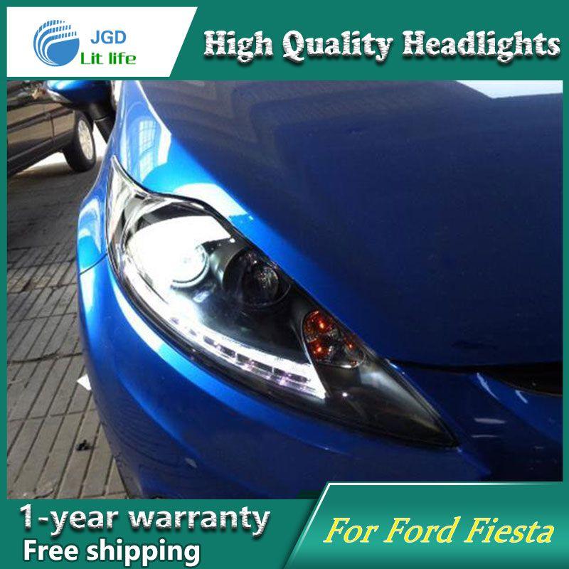 Auto Clud Style Led Head Lamp For Frod Fiesta 2009 2012 Led Headlights Signal Led Drl Hid Bi Xenon Lens Low Beam Led Headlights Headlights Car Lights