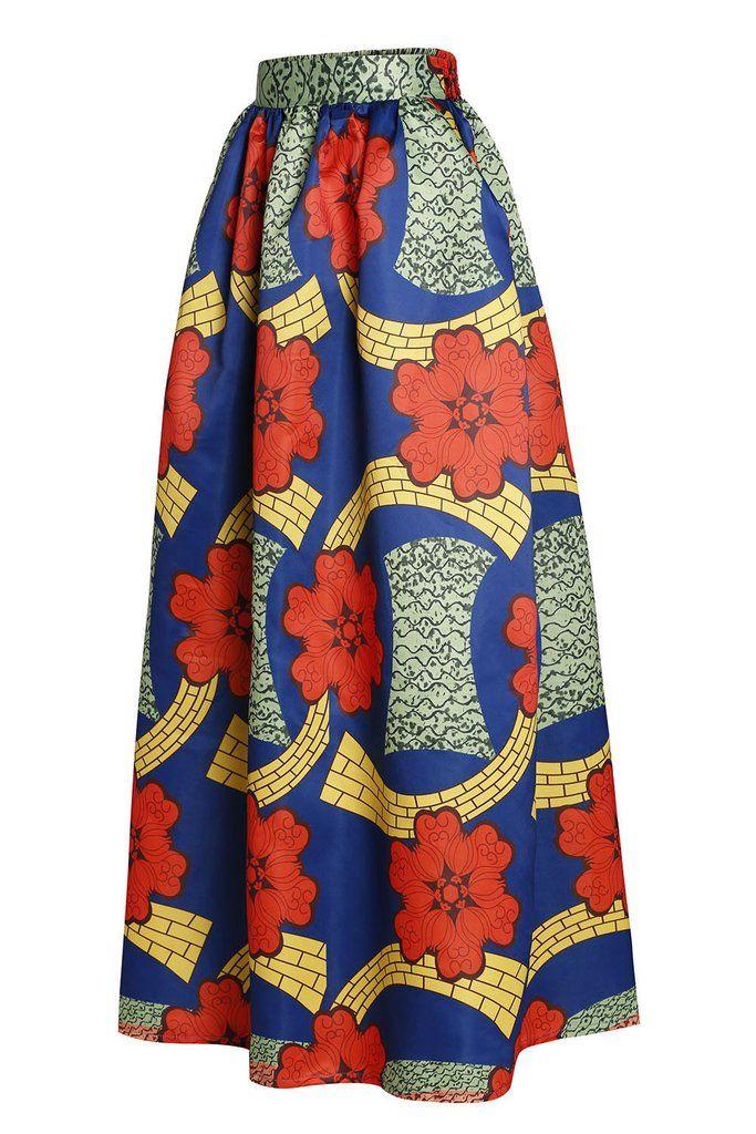 jupe longue en pagne africain colore fleurie imprime pagne africain jupes longues et pagne. Black Bedroom Furniture Sets. Home Design Ideas