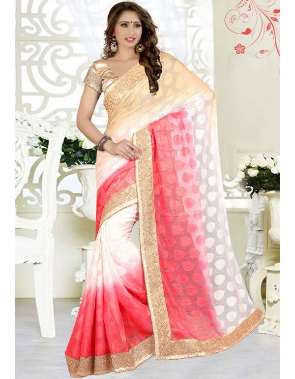 Alluring Off White, Hot Pink and Beige Saree