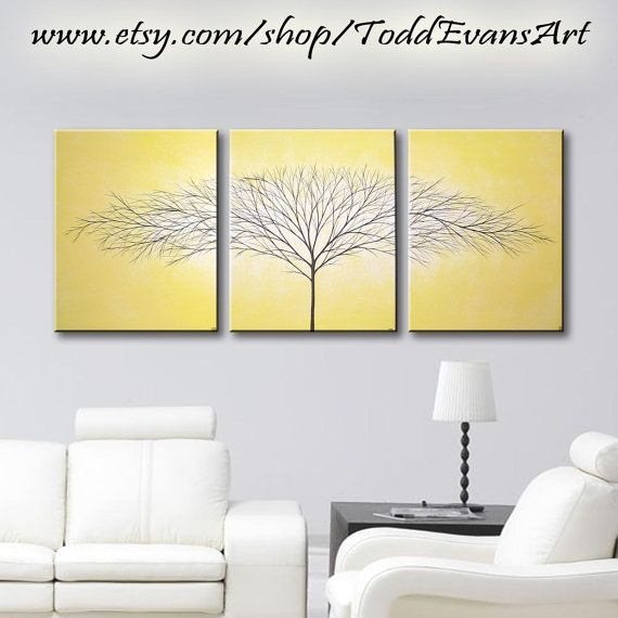 TODAY, 48x20 Inches, 3 piece Wall art set, Mustard Yellow Paintings ...