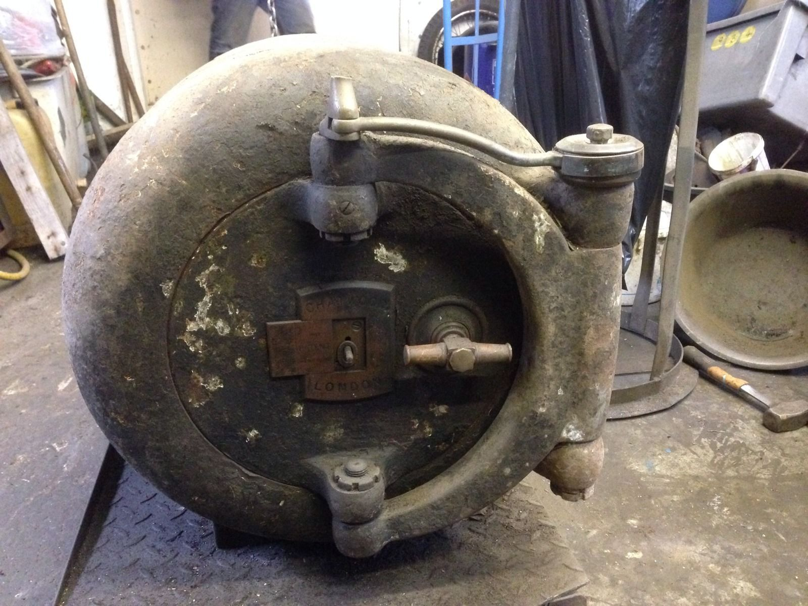 Old Safe Chatwood London Cannon Ball Safe Dated 1921 Cylinder Safe in Home Furniture u0026 : cannonball doors - pezcame.com