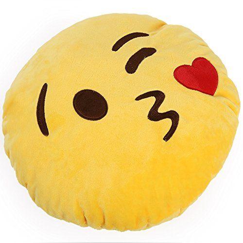 Hacbiwa 32cm Emoji Smiley Emoticon Yellow Round Cushion Pillow