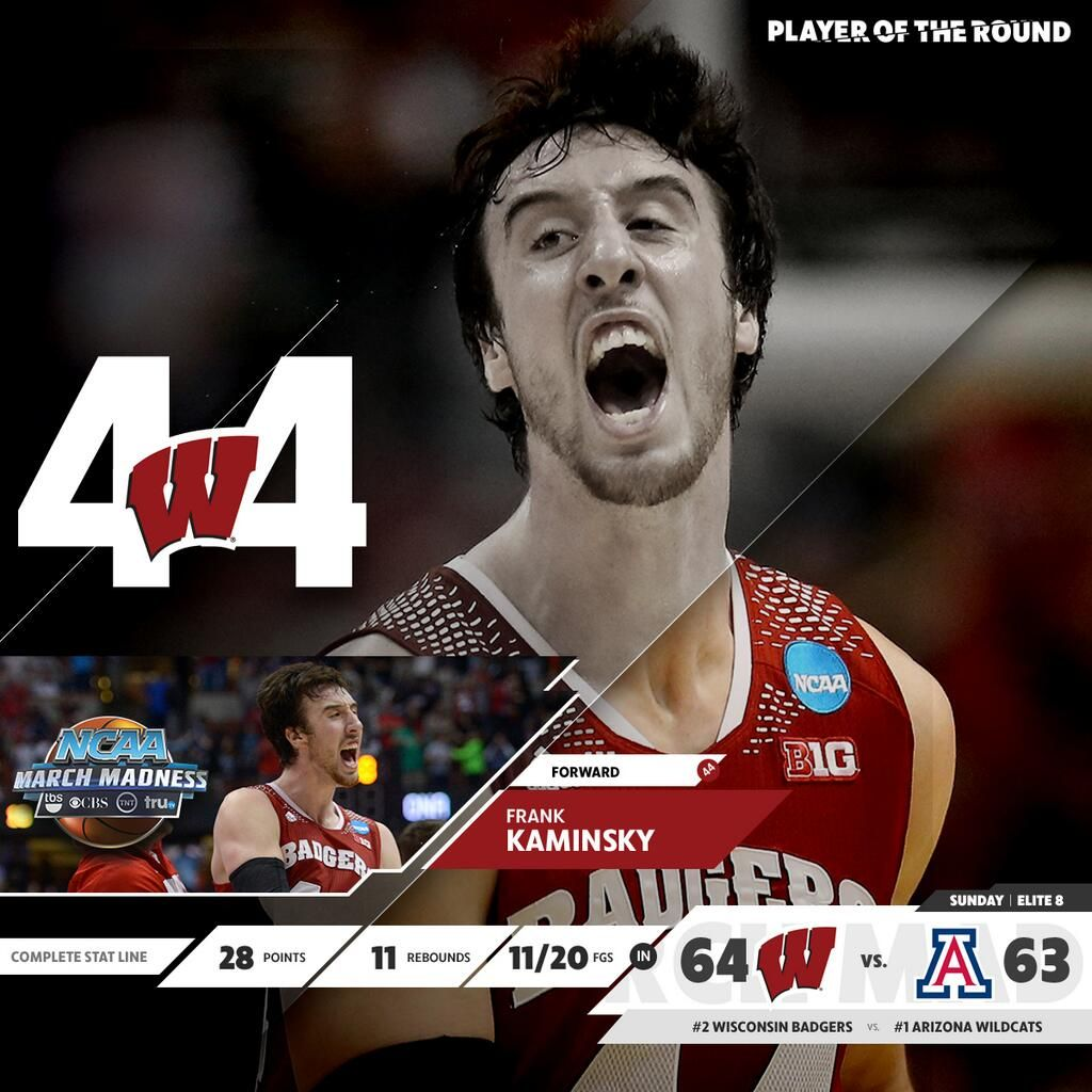 'Player of the Round' Wisconsin's Frank Kaminsky.