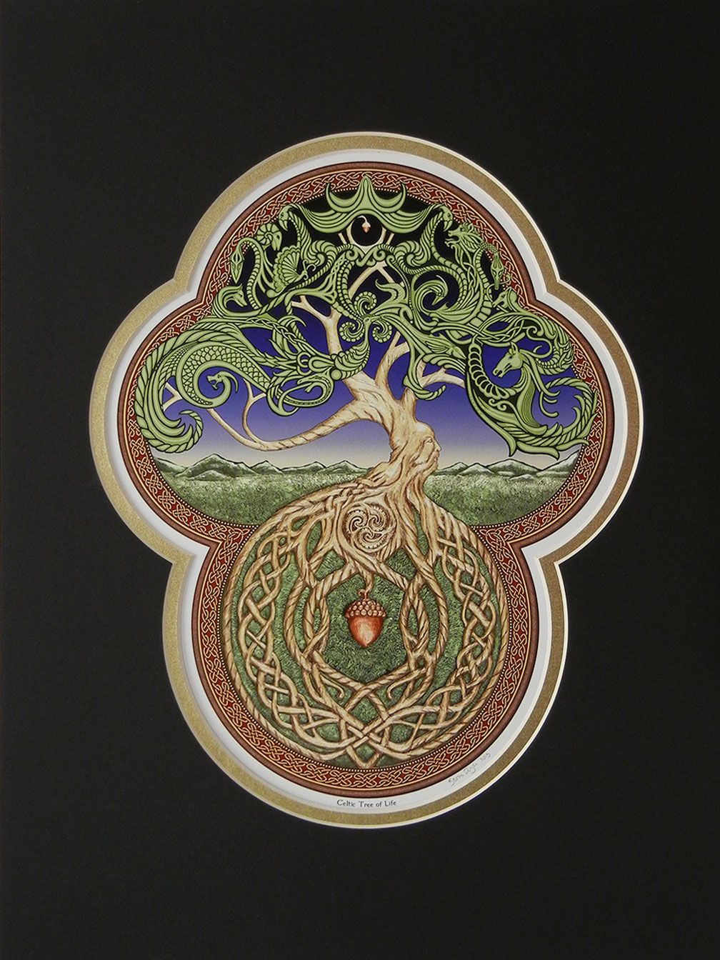 Celtic Tree of Life - Digital art print - yggdrasil - in black ...