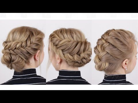 Braided Updo Hairstyle Parikmaxer Tv Usa Youtube Short Hair Updo Braids For Short Hair Braided Hairstyles Updo
