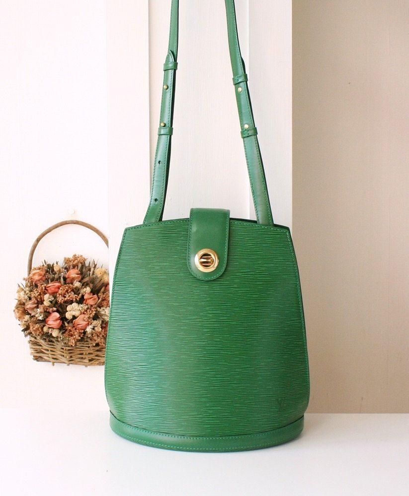 Louis Vuitton Bag Epi Cluny Green Leather Shoulder Authentic Vintage Handbag  (650.00 USD) by allvin 4f47a130ed29b