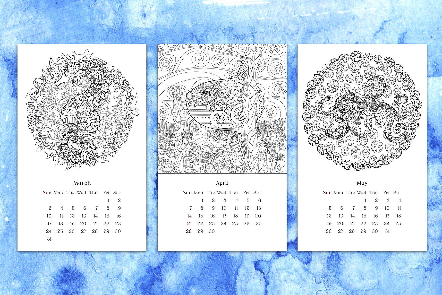 Coloring book Calendar 2020. Coloring books, Calendar