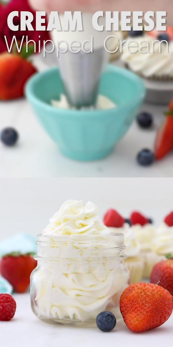 Cream Cheese Whipped Cream is a thick, more stable whipped cream made with cream cheese, heavy cream and powdered sugar. Sweetened with vanilla or a citrus zest, this is the perfect topping for cupcakes and cakes. #creamcheesewhippedcream #whippedcreamrecipe #Stabilizedwhippedcream #creamcheesefrosting