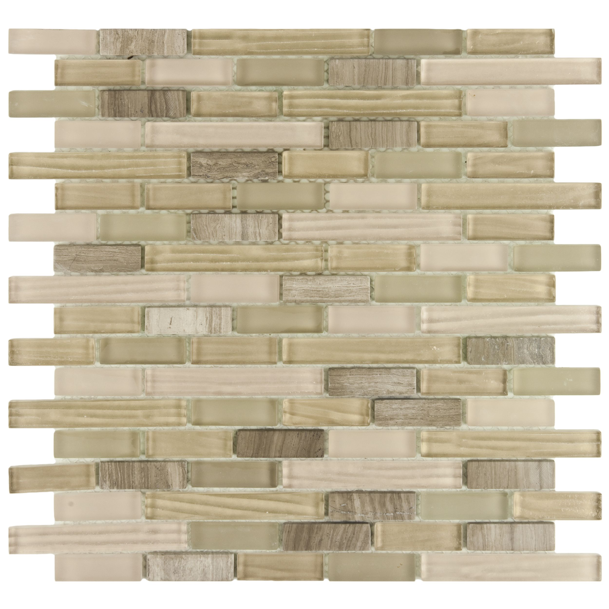 This Neutral Stone And Glass Mosaic By Somertile Looks