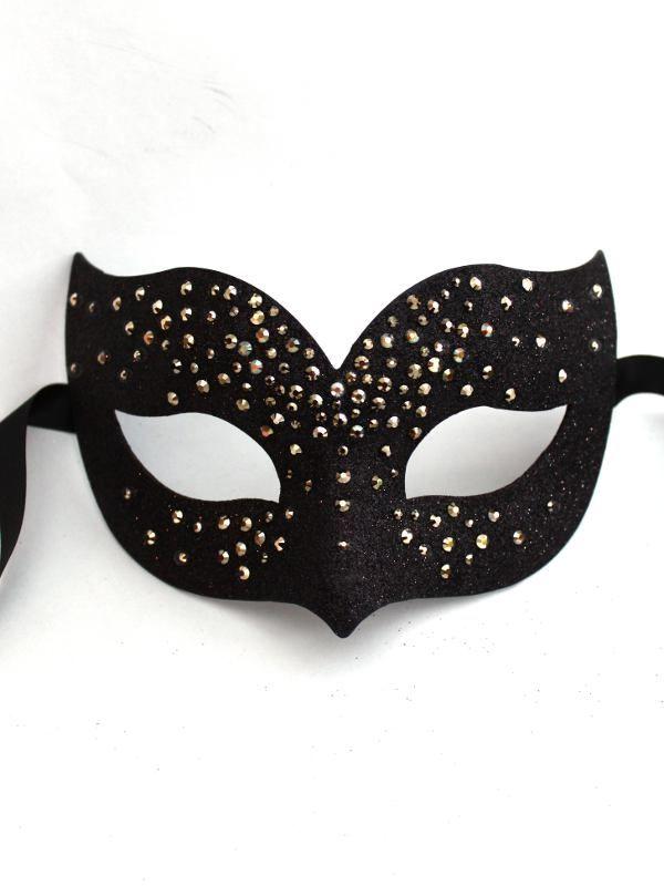 Black Satin Masquerade Mask On StickMasks to Decorate