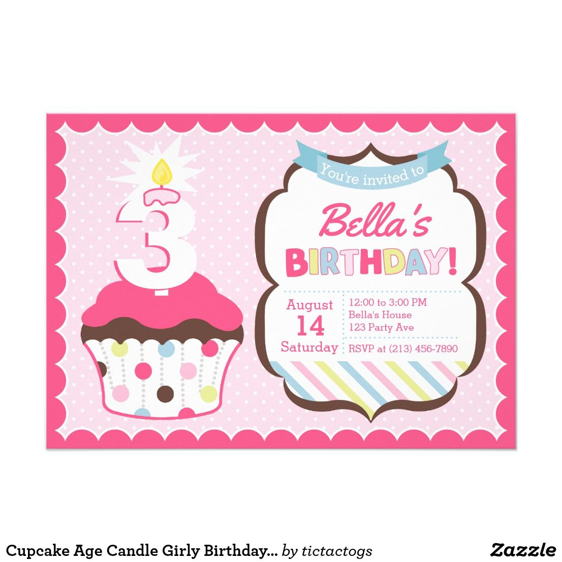 Cupcake Age Candle Girly Birthday Invitation | Girls Birthday Party ...